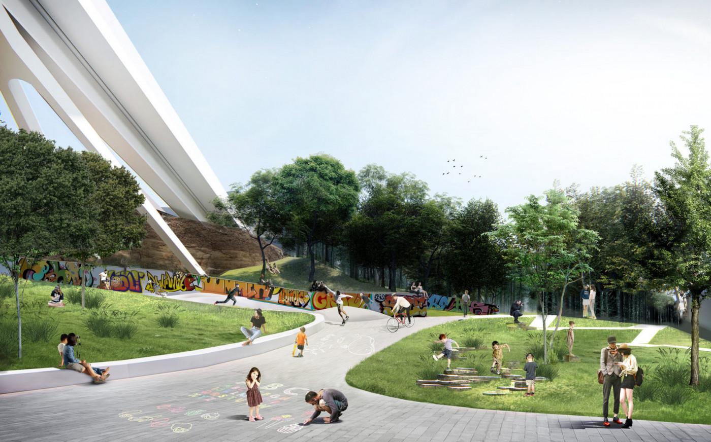 Візуалізація Молодіжного скверу біля Тещиного моста