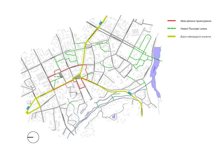 Мережа вулиць і проходів / Концепція реконструкції майданів Соборний та Перемоги