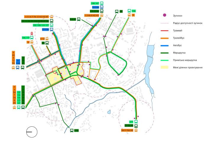Мережа громадського транспорту / Концепція реконструкції майданів Соборний та Перемоги