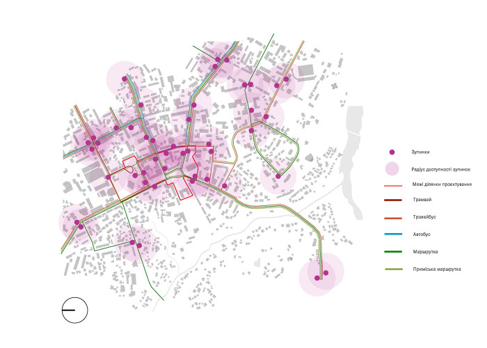 Мережа зупинок громадського транспорту / Концепція реконструкції майданів Соборний та Перемоги