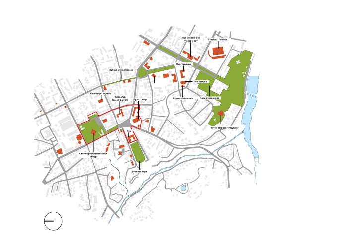 Точки тяжіння/знакові об'єкти / Концепція реконструкції майданів Соборний та Перемоги