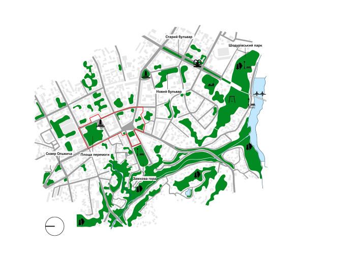 Зелені зони / Концепція реконструкції майданів Соборний та Перемоги