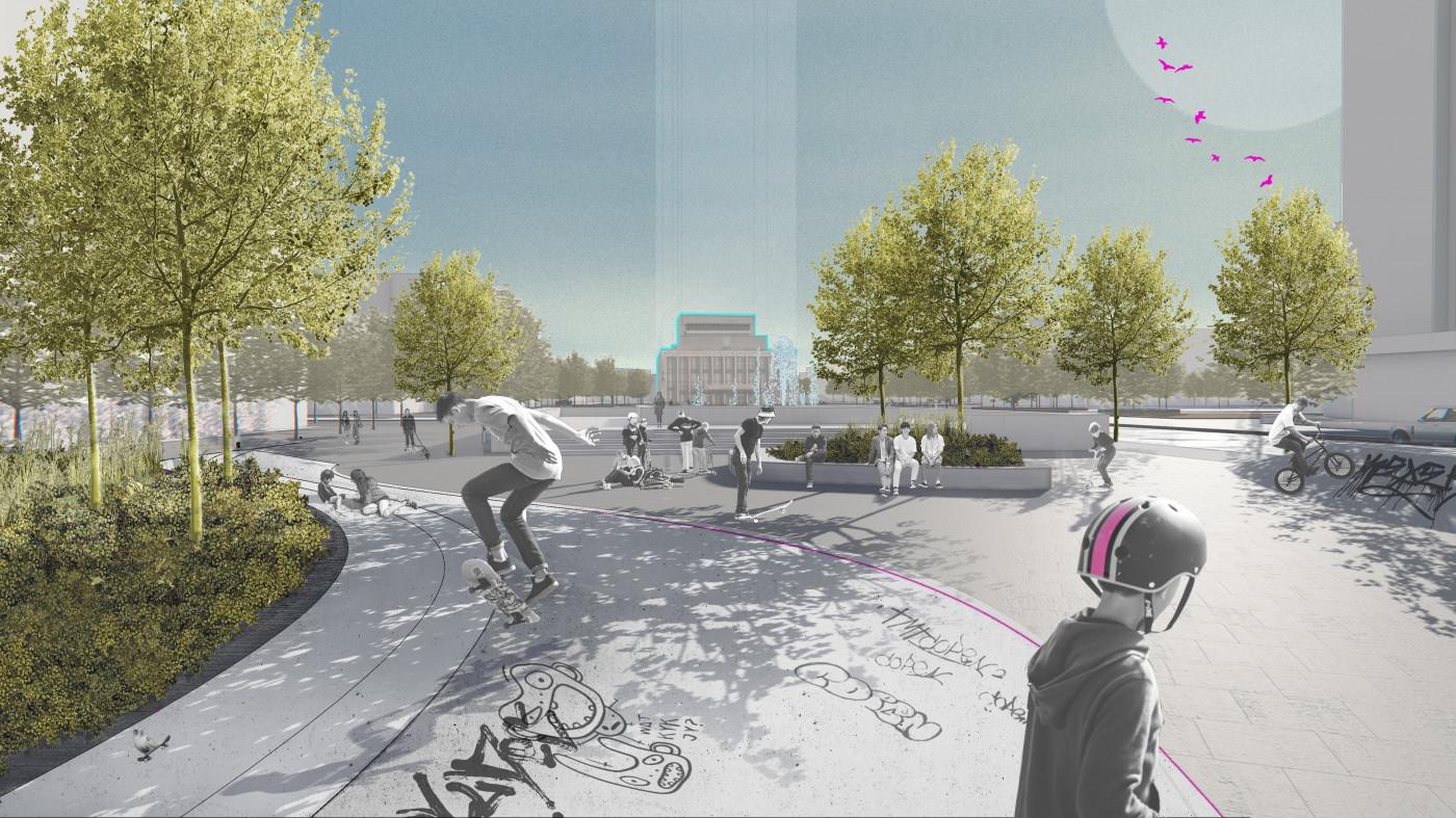 Візуалізація скейт-парку в Єврейському бульварі / Концепція реконструкції майданів Соборний та Перемоги