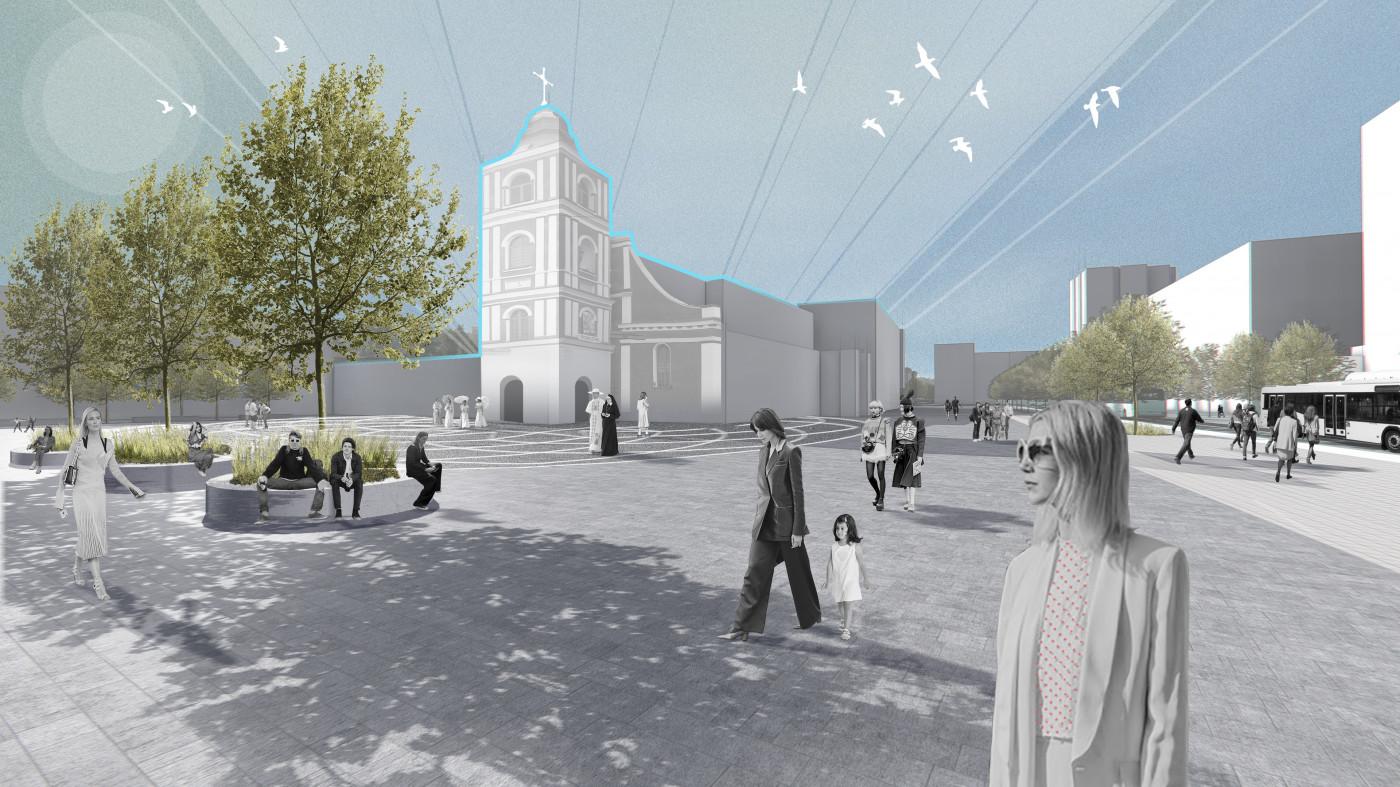 Візуалізація площі перед костелом / Концепція реконструкції майданів Соборний та Перемоги