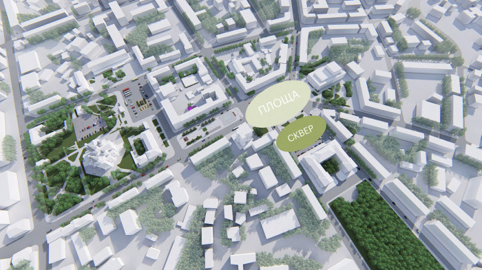 Оцінюємо, що є зараз. Пуста площа і формальний сквер-прикраса для будівлі. / Концепція реконструкції майданів Соборний та Перемоги