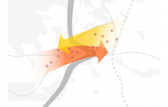 Баланс між точками тяжіння на правому та лівому берегах / Площа Перемоги