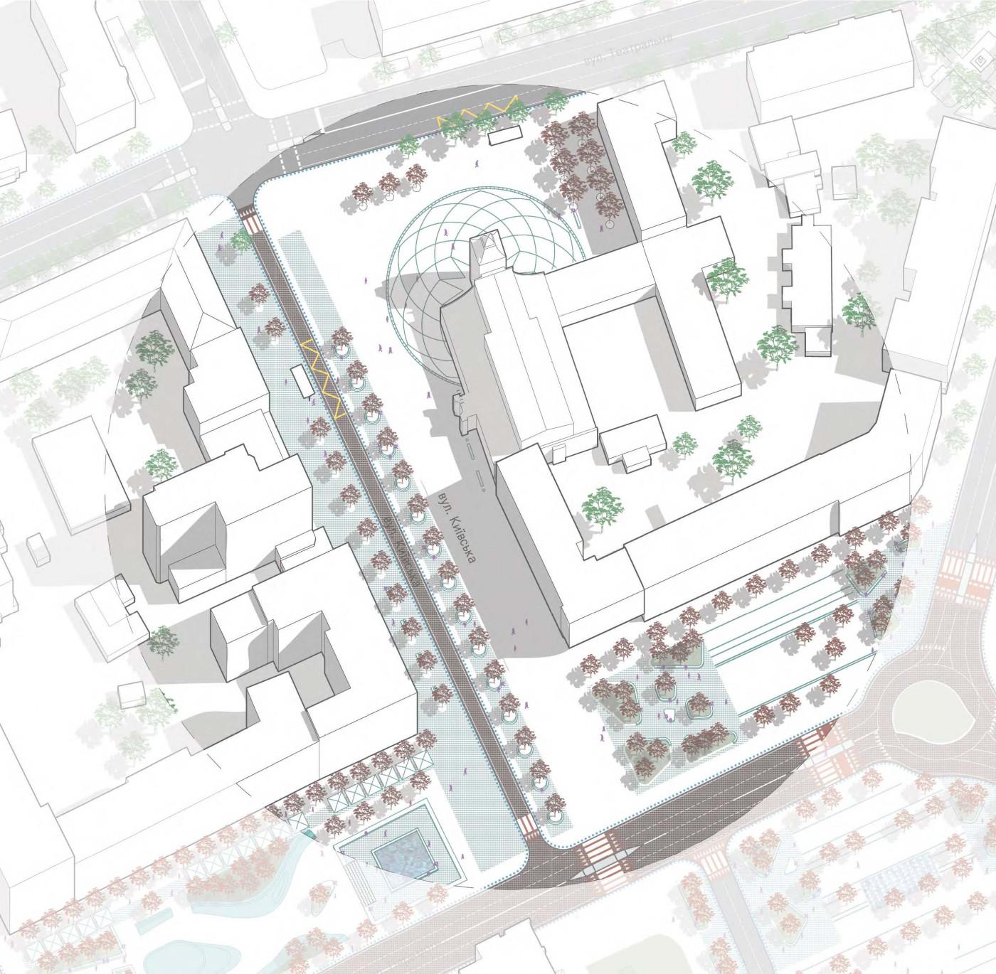 вул. Київська та площа перед костелом / The concept of reconstruction of the Soborny and Victory Squares