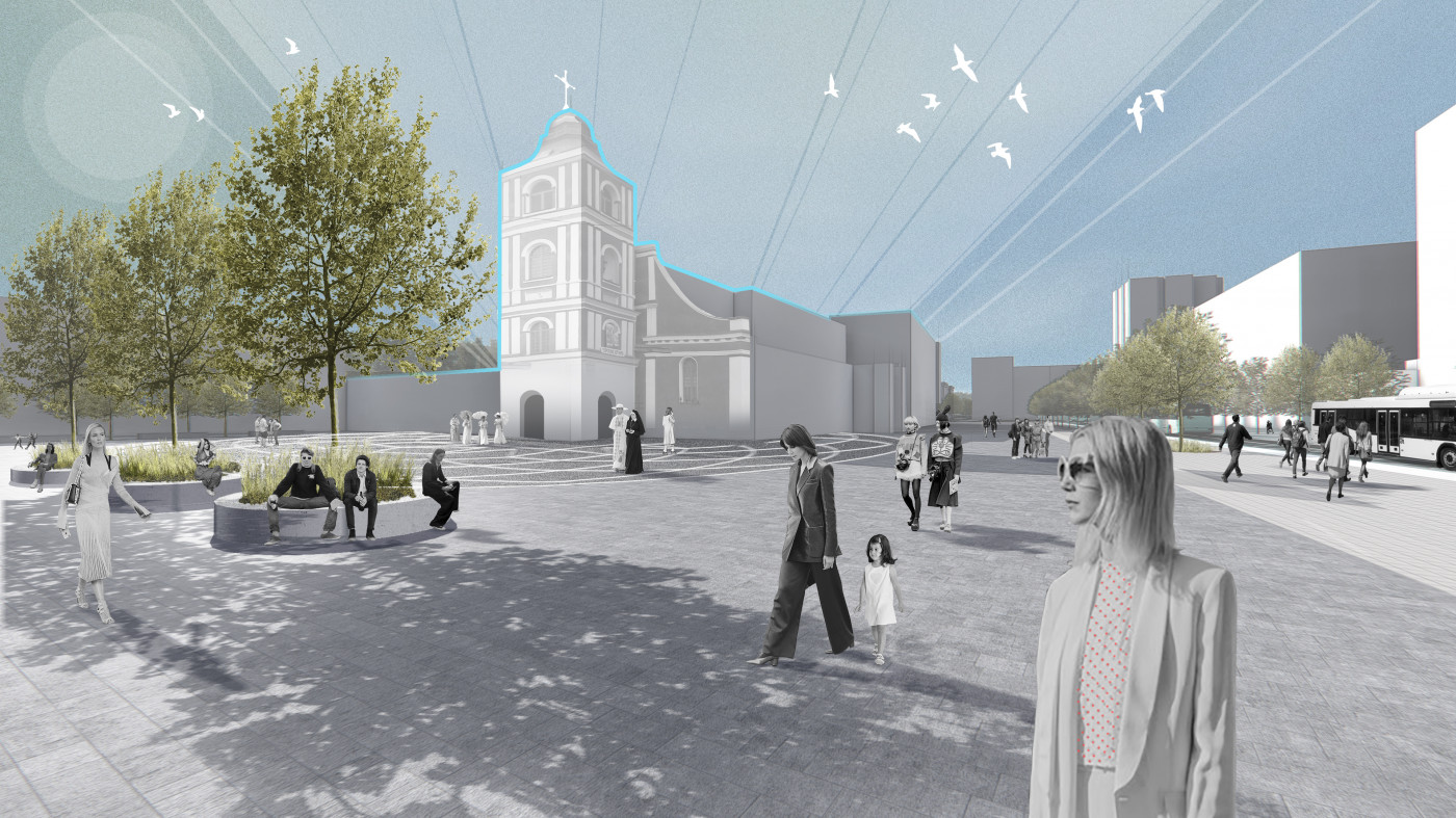Візуалізація площі перед костелом / The concept of reconstruction of the Soborny and Victory Squares