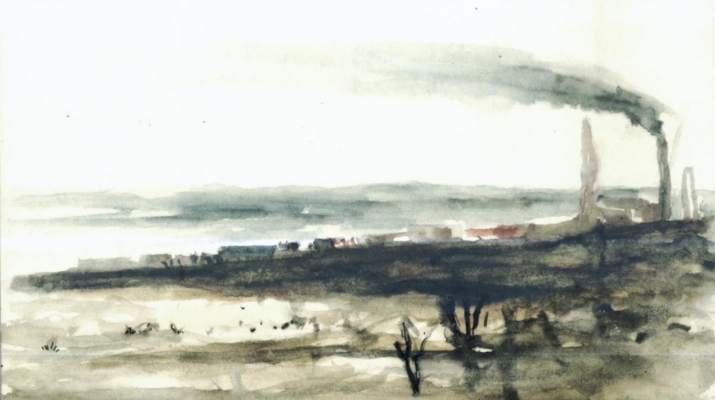 Акварельний малюнок панорами Нікелю