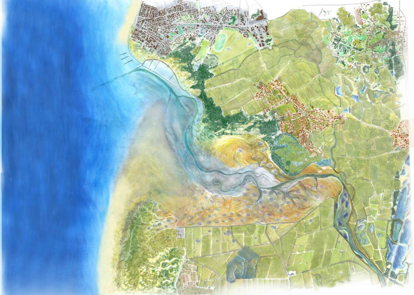 Акварельне зображення ландшафту